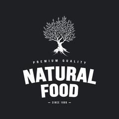 Organic natural and healthy farm fresh food retro emblem design.