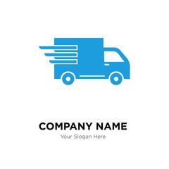 Logistics delivery truck in movement company logo design template