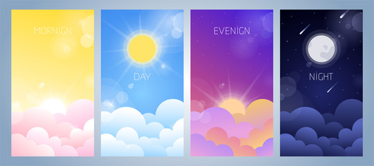 Set of morning, day, evening and night sky illustration with sun, clouds, moon and stars, sunset and sunrise. Weather app screen, mobile interface design Fototapete