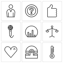 Set Of 9 simple editable icons such as Mercury thermometer, Old phone, Heart, Weighing scale, Bar chart, Voice recorder, Thumb up, Question mark, Male avatar