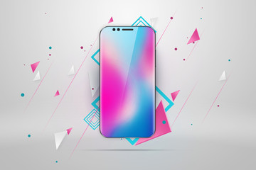 Realistic illustration with a picture of a smartphone on a light background. Design, smartphone, glare. The concept of a layout, design, mobile phone. trend is 2018, mockup, copy space.