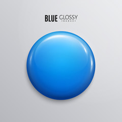 Blank blue glossy badge or button. 3d render.