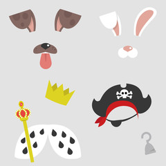 Set of character masks. Dog, bunny, pirate and queen or king. Face filters for a selfie application. Flat editable vector illustration, clip art