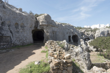 Prehistoric necropolis of Cala Morell in Menorca, Balearic Islands, Spain