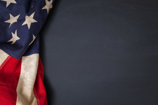 Vintage American Flag Bordering Blank Chalkboard