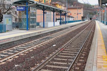 Two-acceptable railroad and station. Riola, Bologna, Emilia-Romagna, Italy