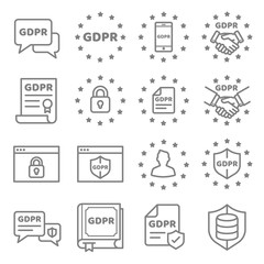 GDPR Data Privacy vector icon set