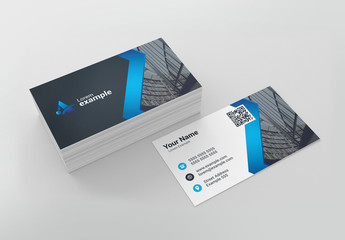 Blue Zig-Zag Business Card Layout