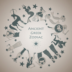 Zodiac wheel in the style of Ancient Greece. 12 signs of the zodiac represented as the Greek myths
