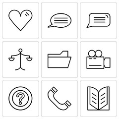 Set Of 9 simple editable icons such as Open book, Headphones, Question mark, Video camera, File folder, Weighing scale, Speech bubble, Speech bubble with text, Heart