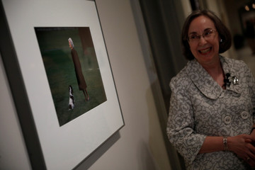 Ann Shumard, senior curator of photographs, speaks with journalists about a photograph of former First Lady Barbara Bush at the Smithsonian National Portrait Gallery in Washington