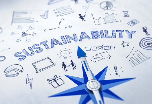 SUSTAINABILITY concept with blue compass 3d Render