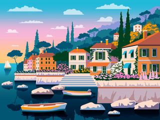 Mediterranean romantic landscape. Handmade drawing vector illustration. All buildings - customizable different objects. Can be used for posters, banners, postcards, books & etc.