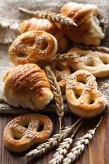 pretzels and various bakery products