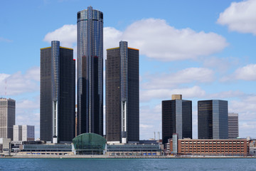Detroit city center Renaissance Center during a beautiful day view from Windsor, Ontario, Canada.