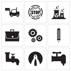 Set Of 9 simple editable icons such as crane, flat plyer, faucet, pencil, settings, bag, fabric, stop, lorry