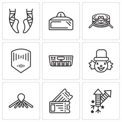 Set Of 9 simple editable icons such as Fireworks, Tickets, Balloon dog, Clown, Synthesizer, Mask, Drums, Vr glasses, Ballet