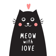 Card with black cat, pink heart and text meow with love.