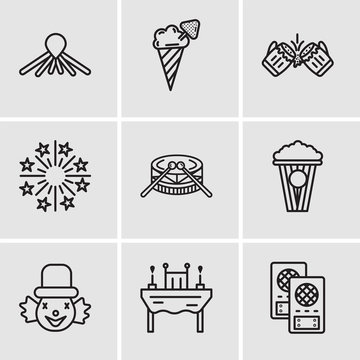 Set Of 9 simple editable icons such as Loudspeaker, Dinner, Clown, Popcorn, Drums, Fireworks, Beer, Ice cream, Balloon dog