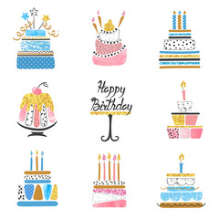 Hand drawn Birthday cakes big set. Vector watercolor illustration.