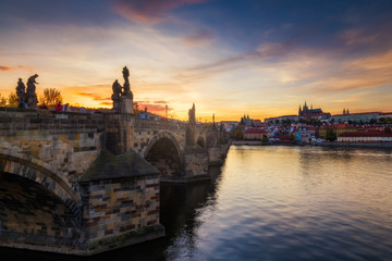 Famous iconic image of Charles bridge at sunset in spring, Prague, Czech Republic. Concept of world travel, sightseeing and tourism.