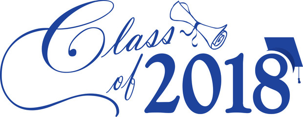 Blue Class of 2018 Banner with Cap and Diploma
