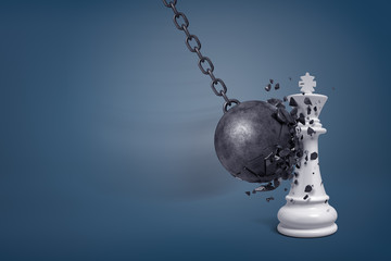 3d rendering of a large wrecking ball breaks in small pieces when it hits a white chess king.
