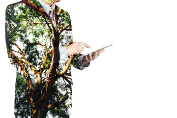 Double Exposure of Businessman use Digital Wireless Tablet with Tree and Branch