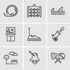 Set Of 9 simple editable icons such as Candy, Lighting, Park, Cannon, Bumper car, Tv, Sharks, Tic tac toe, Roller coaster
