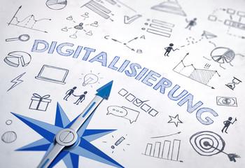 Digitalisierung Konzept mit blauem Kompass