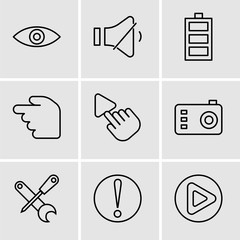 Set Of 9 simple editable icons such as Play button, Caution, Screwdriver and wrench, Photo camera, Selection Tool, Hourglass, Battery level, Volume control, Eye