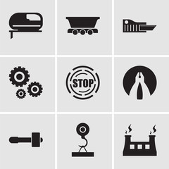 Set Of 9 simple editable icons such as fabric & steam, load crane, hammer, flat plyer, stop, settings, cutter, freight wagon, grinder