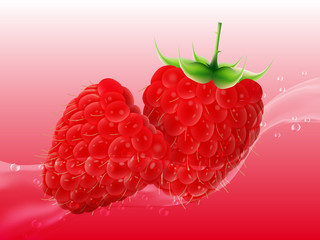 Delicious juicy raspberry in spray of juice. Realistic style. Vector illustration.