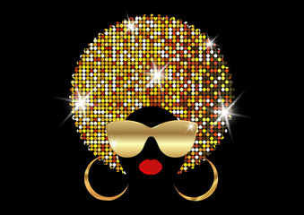 portrait African Women , dark skin female face with shiny hair afro and gold metal sunglasses in traditional ethnic golden turban, hairstyle concept, cover for black music, disco, beauty events.