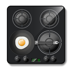 Vector 3d realistic gas stove, black cooktop, hob with four circle burners, with frying pan and eggs on it, isolated on background. Modern household appliance with digital timer for cooking food
