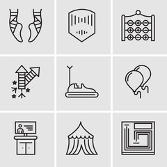 Set Of 9 simple editable icons such as Board game, Tent, Tv, Balloons, Bumper car, Fireworks, Tic tac toe, Mask, Ballet
