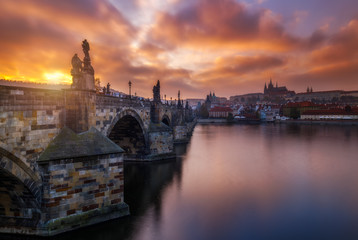Charles Bridge (a.k.a. Karluv most, Stone Bridge, Kamenny most, Prague Bridge, Prazhski most) over Vltava river in Prague, Czech Republic.