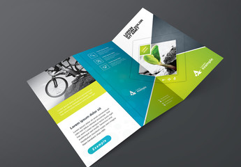 Green and Blue Trifold Brochure Layout