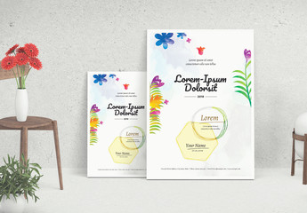 Floral Watercolor Flyer Layout