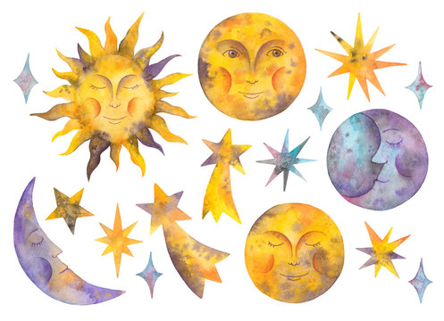 watercolor sun, moon,  stars and celestial bodies. isolated elements on a white background
