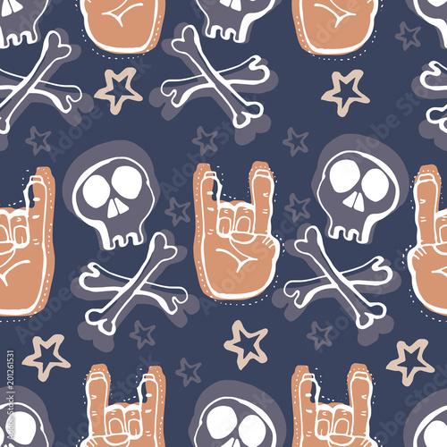 Vector Hand Drawn Seamless Patern Skulls Bones Rock Music Symbols