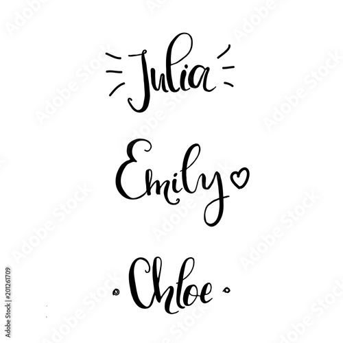 Khloe, Julia, Emily - Female names made in lettering style  template