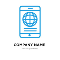 Mobile phone globally connected company logo design template