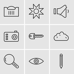 Set Of 9 simple editable icons such as Edit tool, Eye, Magnifying glass, Cloud, Key, Photo camera, Volume control, Star, Shopping basket