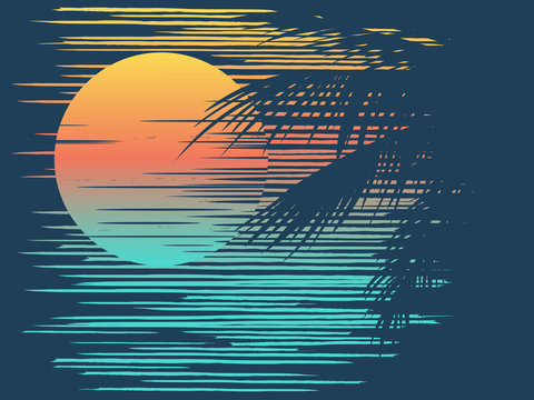 Sunset on tropical beach with palm tree. Sun on evening sea.