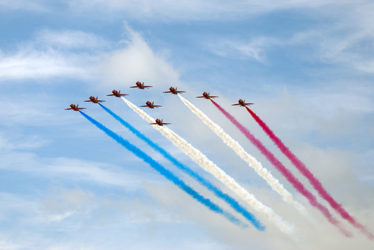 The Red Arrows in patriotic red, white and blue display.