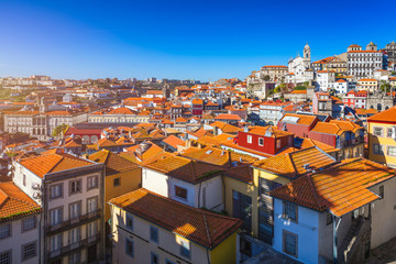 Porto, Portugal old town on the Douro River. Oporto panorama.