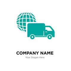 International logistics delivery truck company logo design template