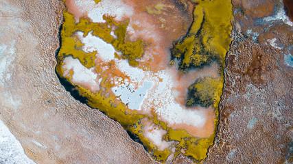 Aerial view of a salt lake at the Atacama Desert in Chile