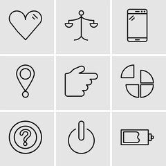 Set Of 9 simple editable icons such as Magic wand, Power button, Question mark, Pie chart, Hand pointing to right, Location pointer, Tablet, Weighing scale, Heart